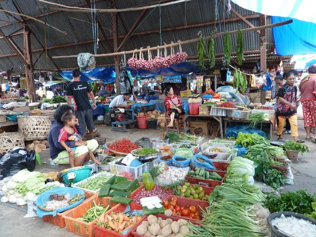 Lokale markt, Sumatra, Indonesië