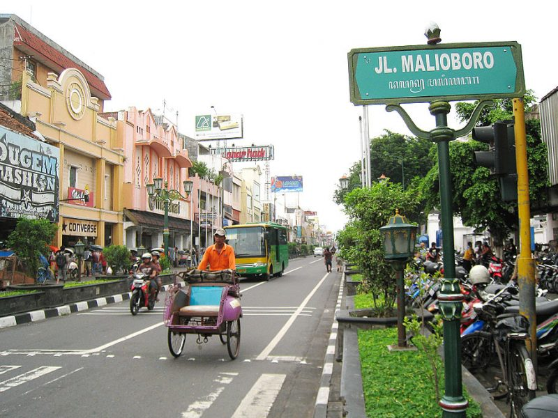 Malioboro, Yogyakarta, Java, Indonesië (foto: https://asianbackpacker.wordpress.com)