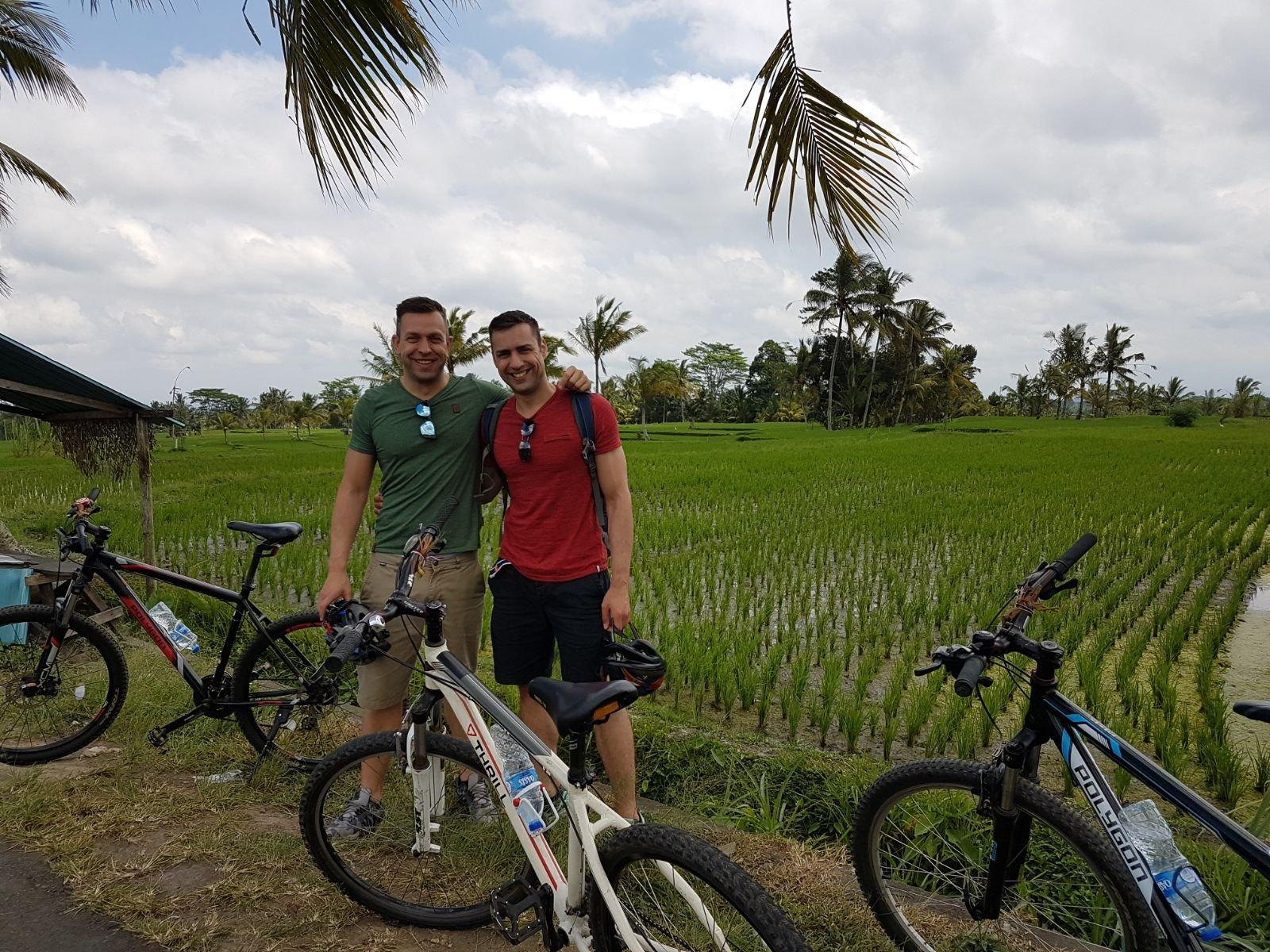 Fietstocht door de rijstvelden van Bali
