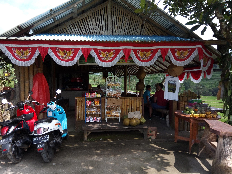 Onderweg bij Jatiluwih rijstvelden even Bali kopi drinken
