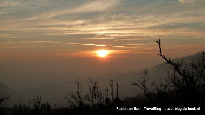 Zonsondergang op Java, Indonesië